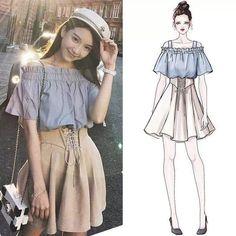 42 Ideas Fashion Dresses Sketches Moda For 2019 Kawaii Fashion, Cute Fashion, Look Fashion, Trendy Fashion, Korean Fashion, Fashion Models, Girl Fashion, Womens Fashion, Mode Chic