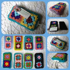 Smartphone cover, granny square crochet, cellphone gadget covers - iphone sleeve, ipod cover, cellphone cosy