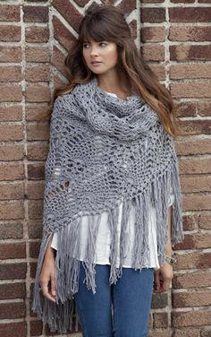 Free pattern http://www.stitchnationyarn.com/crochet-patterns/sidewalk-shawl.html