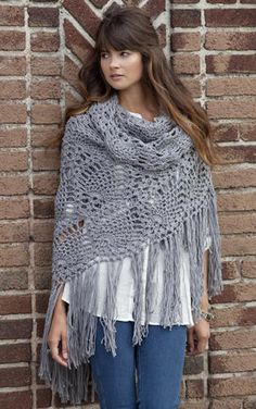 Free pattern http://www.stitchnationyarn.com/crochet-patterns/sidewalk-shawl.html