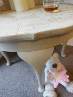 SHABBY CHIC FRENCH STYLE ANNIE SLOAN COFFEE TABLE WITH DECOUPAGE VINTAGE MAPS. Vintage coffee table with pie crust edge and beautiful Queen Ann legs. Available for sale on ebay. Painted with Annie Sloan chalk paint