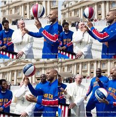 Pope Francis with The Harlem Globetrotters 2015.