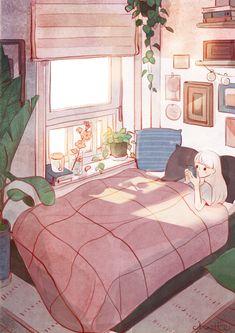 Illustration by shato_illust Arte Do Kawaii, Kawaii Art, Aesthetic Rooms, Aesthetic Art, Bg Design, Anime Scenery Wallpaper, Kawaii Wallpaper, Cute Illustration, Anime Art Girl