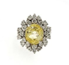 14K Gold Yellow Sapphire Diamond Cocktail Ring Featured in our upcoming auction on September 29, 2016!