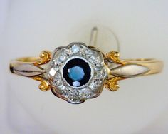 1930's Sapphire and Diamond Platinum and by MonCoeurfinejewelry, $700.00