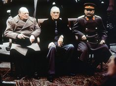 Churchill, Roosevelt, and Stalin at the Livadia Palace in Yalta, Russia (now Ukraine), Feb 1945, photo 4 of 4