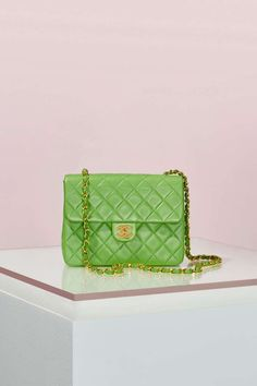 Vintage Chanel Quilted Green Leather Bag | Shop Vintage at Nasty Gal!