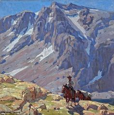 This oil on canvas is by the great California plein-air artist Edgar Alwin Payne (1883-1947). Born in Washburn, Missouri, Edgar Payne became one of the foremost plein-air landscape painters of California in the early 20th century. He is best known for his majestic Sierra Nevada Mountain scenes, and depicted so many Indians on horseback riding through the Sierra Nevada Mountains.