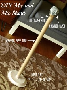 The Rock Star Microphone Stand is the most creative use for household items that I've seen. This entire toilet paper roll craft can be made from used items, which makes it incredibly affordable. Kids can make this awesome craft. Karaoke Party, Music Party, 80s Party, Rockstar Party, Rockstar Birthday, Party Rock, Vip Pass, Star Wars Party, Diy Microphone