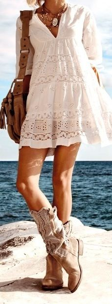 Pretty summer frock with lace detail paired with comfy kilim cowboy boots. Fresh boho chic.