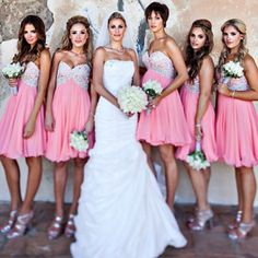 love the sparkle on the bridesmaids dresses