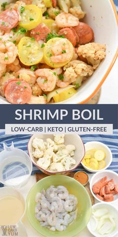 This shrimp boil recipe is keto-friendly and delicious. This seafood dish is bursting with flavor and makes the perfect dinner for all. Seafood Casserole Recipes, Seafood Boil Recipes, Seafood Dishes, Low Carb Dinner Recipes, Lunch Recipes, Keto Recipes, Healthy Recipes, Free Recipes, Paleo Stew