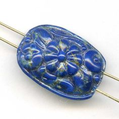 Vintage Glass Bead Faux Azurite Floral Two Hole Bead