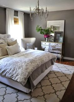 Bedroom, Charcoal Grey Wall Color For Colonial Bedroom Decorating Ideas For Young Women With Printed Floral Bedding Set: The Elegant Bedroom Colors for Young Women