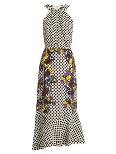 Ruby polka-dot and floral-print silk dress | Saloni | MATCHESFASHION.COM US