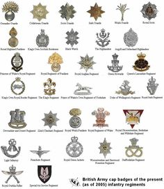 British Army cap badges for Infantry Regiments (as of 2005)