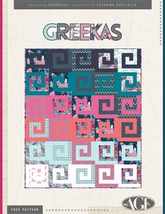 The nautical and fun feel of this Greekas quilt, will sweep you off of your feet and take you right to Greece. Go on a quilting trip why don'tcha? #ArtGalleryFabrics #Quilt #Sew #DIY #Creative #Craft #thread #howto #tutorial #free #geometric