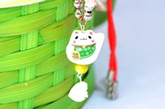 Green Maneki Neko Necklace. Lucky Cat by FlashinFashinJewelry