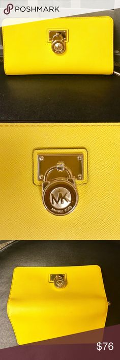 "🌼Michael Kors like new wallet🌼 Perfect wallet to match my listed Michael Kors bag ☺️ Beautiful sunflower color, like new condition, used once or twice. 8""L x 4""H. Michael Kors Bags Wallets"