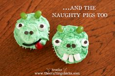 Angry Bird and Naughty pig cupcakes.  Super cute and easy to follow directions!
