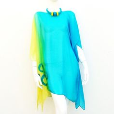 Silk Caftan Aqua Lemon Cover Up Tunic Nuno Felt by juliaheartfelt