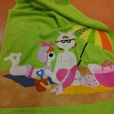 Tovallola per la platja feta a classe Feta, Applique, Patches, Sewing, Halloween, Creative, Ideas, Napkins, Towels