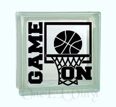 Game ON with Basketball Hoop and Ball. DIY Glass Block and other projects. Gift for Basketball Player,  Block Not Included by OneELvinyl on Etsy https://www.etsy.com/listing/225603042/game-on-with-basketball-hoop-and-ball