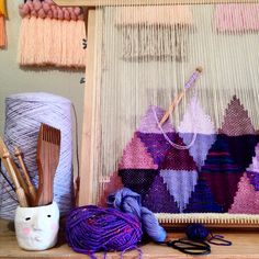 Weaving wall hanging on the tapestry loom by Maryanne Moodie
