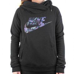 Nike Rally Funnel Neck Camo Hoodie Womens 684146-010 Black Logo Hoody Size L