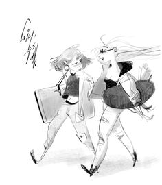 Girls talk.  ★    CHARACTER DESIGN REFERENCES (https://www.facebook.com/CharacterDesignReferences & https://www.pinterest.com/characterdesigh) • Love Character Design? Join the Character Design Challenge (link→ https://www.facebook.com/groups/CharacterDesignChallenge) Share your unique vision of a theme, promote your art in a community of over 30.000 artists!    ★