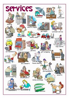 Services Picture Dictionary - English ESL Worksheets for distance learning and physical classrooms Learn English Grammar, Learn English Words, English Fun, English Study, English Vocabulary, Learning English For Kids, English Language Learning, Teaching English, English Posters