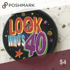 40th birthday light up pin Needs battery. Otherwise no flaws. 40th birthday pin. Red light that lights up. Other