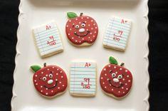Sooner Sugar Cookies https://www.facebook.com/soonersugar  100th day of school cookies Apple cookies paper cookies