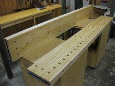 """A fascinating workbench top idea - made from """"LVL"""" - engineered beam - """"Glu-lam"""" beam - strips cut to 2-1/2"""" thickness and glued together to make a top."""