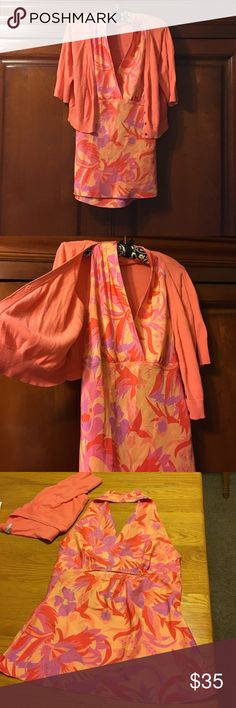 Express Halter Blouse/ Cardigan set Size L So pretty!!! Express 100% Silk Halter top and matching cotton Cardigan. Pretty colors of Coral, purple, pinks, and peach throughout Blouse. 💐💋💋💋 Old Navy short coral Cardigan Button Up. Size L Express Tops Blouses