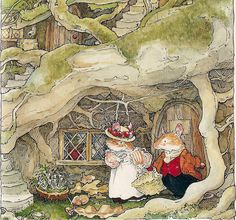 Lord and Lady Woodmouse decided to help pick mushrooms.