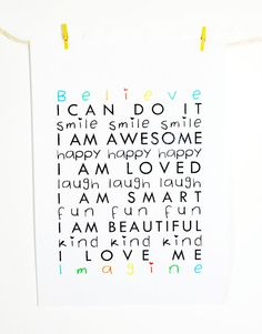 Children's positive affirmations printable by ThePrintItBoutique, $10.00