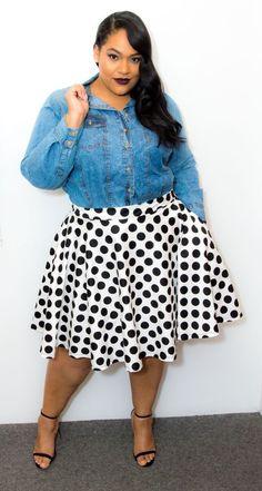 Plus Size Polka Dot Skirt