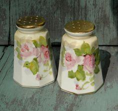 Vintage Rose Nippon Salt and Pepper Shakers, 1940s