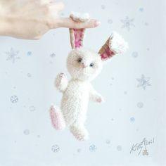White Rabbit  Teddy Friend 5 inch by KittyAprilHandmade on Etsy, $120.00