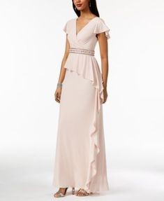 c8f629304a61 Adrianna Papell Embellished Draped Ruffle Gown & Reviews - Dresses - Women  - Macy's