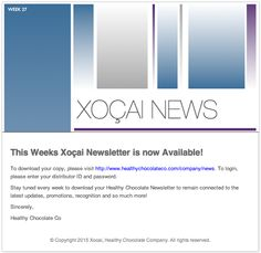This weeks Xoçai Newsletter is now available!