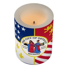 #Flag of Detroit Michigan Flameless Candle - #candle #candles #special #custom