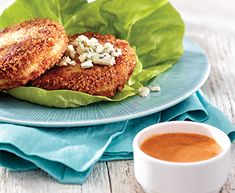 Tre Stelle® Recipes - Bunless Buffalo Chicken and Havarti Burgers Entree Recipes, Lunch Recipes, Cooking Recipes, Cooking Ideas, Hot Dog Recipes, Chicken Recipes, Chicken Wing Sauces, Bunless Burger, Low Carb Menus