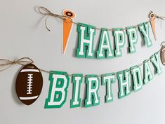 Football birthday party decorations designed and crafted by Declan & Smith Party Décor. #footballdecorations #footballbirthdayparty Baseball First Birthday, Football Birthday, Sports Birthday, First Birthday Photos, Football Party Decorations, First Birthday Party Decorations, Birthday Photo Banner, Happy Birthday Banners, Fall Birthday Parties