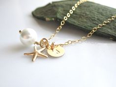 Tiny 14K Gold Filled Starfish Charm with Pearl by cocowagner, $24.90