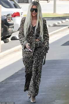 Strut: Khloe Kardashian called attention to herself with another standout look on Friday when she stepped out from the studio in a suit dipped in leopard print from head to toe Khloe Kardashian Outfits, Koko Kardashian, Kardashian Jenner, Kylie Jenner, Girls Run The World, Celebrity Look, Celeb Style, Lingerie, Jenner Style
