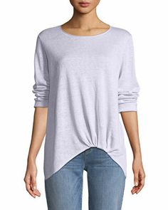 Eileen Fisher sweater with front-twist detail. Sweater Design, Eileen Fisher, Neiman Marcus, Knitwear, Sweaters For Women, Tunic Tops, Jewel, Clothes For Women, Organic