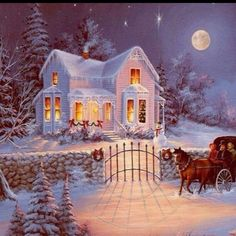 Thomas Kinkade art this has always been my dream to have a Huge house more than big enough for my entire family and enough room to use all my decorations :)