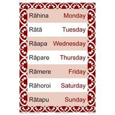 Days of the Week chart shown in Maori and English. Fantastic quick reference tool for every classroom Teaching Tools, Teaching Resources, Maori Songs, Waitangi Day, Maori Symbols, Alphabet Songs, Maori Designs, Maori Art, Reading Strategies